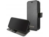 Husa Piele Guess IriDescent pentru Apple iPhone 12 mini, Neagra GUFLBKSP12SIGLBK