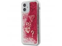 Husa TPU Guess Liquid Glitter Charms pentru Apple iPhone 12 / Apple iPhone 12 Pro, Rosie GUHCP12MGLHFLRA