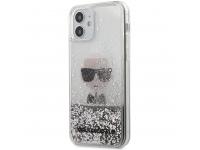 Husa TPU Karl Lagerfeld pentru Apple iPhone 12 mini, Liquid Glitter Iconic, Argintie KLHCP12SGLIKSL