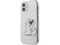 Husa Plastic Karl Lagerfeld pentru Apple iPhone 12 mini, Choupette Eat, Transparenta KLHCP12SCFNRC