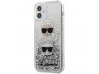 Husa TPU Karl Lagerfeld pentru Apple iPhone 12 mini, Liquid Glitter 2 Heads, Argintie KLHCP12SKCGLSL
