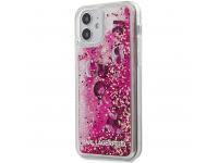 Husa TPU Guess Liquid Glitter Charms pentru Apple iPhone 12 mini, Roz KLHCP12SROPI