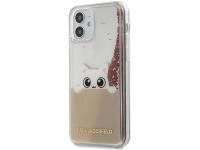 Husa TPU Karl Lagerfeld Liquid Glitter Peek a Boo pentru Apple iPhone 12 mini, Roz KLHCP12SPABGNU