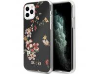 Husa Plastic - TPU Guess Flower Shiny N.4 pentru Apple iPhone 11 Pro Max, Neagra, Blister GUHCN65IMLFL04