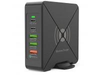 Incarcator Retea Wireless OEM F88W, 2 x USB Tip-C - 3 x USB, QC3.0, Negru, Blister