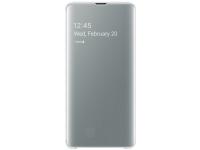 Husa Poliuretan Samsung Galaxy S10 5G G977, Clear View Cover, Alba, Resigilat, Blister EF-ZG977CW