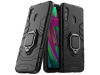 Husa Plastic - TPU OEM Ring Tough Armor Kickstand pentru Samsung Galaxy A40 A405, Neagra, Bulk