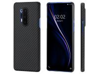 Husa Fibra Aramida Pitaka MagEz pentru OnePlus 8 Pro, Car Case Magnet, Tesatura diagonala (Twill), Neagra Gri KP8001P