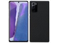 Husa Fibra Aramida Pitaka MagEz pentru Samsung Galaxy Note 20 N980 / Samsung Galaxy Note 20 5G N981, Car Case Magnet, Tesatura diagonala (Twill), Neagra Gri KP8001P