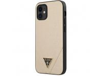 Husa TPU Guess Saffiano V Stitch pentru Apple iPhone 12 mini, Aurie GUHCP12SVSATMLLG