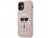 Husa TPU Karl Lagerfeld Head pentru Apple iPhone 12 mini, Roz KLHCP12SSLKHLP