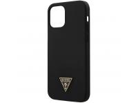Husa TPU Guess Metal Triangle pentru Apple iPhone 12 mini, Neagra, Blister GUHCP12SLSTMBK