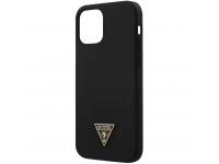 Husa TPU Guess Metal Triangle pentru Apple iPhone 12 Pro Max, Neagra, Blister GUHCP12LLSTMBK