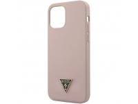 Husa TPU Guess Metal Triangle pentru Apple iPhone 12 mini, Roz Deschis, Blister GUHCP12SLSTMLP