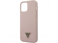 Husa TPU Guess Metal Triangle pentru Apple iPhone 12 / Apple iPhone 12 Pro, Roz Deschis, Blister GUHCP12MLSTMLP