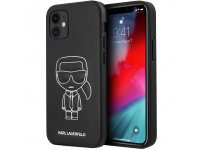 Husa Piele Karl Lagerfeld Embossed pentru Apple iPhone 12 mini, Alba Neagra KLHCP12SPCUIKWH