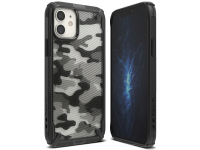 Husa Plastic - TPU Ringke Fusion X Design Camo pentru Apple iPhone 12 / Apple iPhone 12 Pro, Neagra, Blister XDAP0016