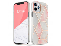 Husa TPU Tech-Protect Marble pentru Apple iPhone 12 / Apple iPhone 12 Pro, Roz, Blister