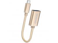 Adaptor OTG USB la MicroUSB Dudao L15M, Auriu