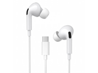 Handsfree Casti In-Ear WK-Design Y31, Cu microfon, USB Type-C, Alb