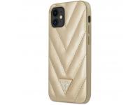 Husa Plastic - TPU Guess V Quilted pentru Apple iPhone 12 mini, Aurie GUHCP12SPUVQTMLBE