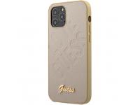 Husa Piele Guess Iridescent Love pentru Apple iPhone 12 mini, Aurie GUHCP12SPUILGLG