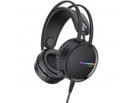 Casti Gaming HOCO W100 Touring, cu microfon, 2 x 3.5 mm + USB, Negre, Blister