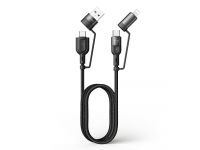 Cablu Date si Incarcare USB + USB - Lightning / USB Type-C / MicroUSB McDodo 4in1, 1.2 m, Negru, Blister CA-8070