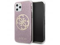 Husa Plastic - TPU Guess 4G Glitter Circle pentru Apple iPhone 11 Pro Max, Roz, Blister GUHCN65PCUGLPI