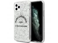 Husa TPU Karl Lagerfeld St.Guillaume Glitter pentru Apple iPhone 11 Pro Max, Argintie, Blister KLHCN65TRFGSL