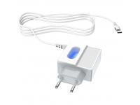 Incarcator Retea cu cablu USB Tip-C HOCO C75, 2 X USB, 1m, Alb, Blister