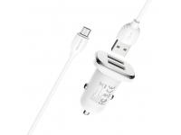Incarcator Auto cu cablu MicroUSB Borofone BZ12, 2 X USB, 2.4A, 1m, Alb, Blister