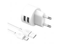 Incarcator Retea cu cablu USB Tip-C XO Design L62, 2 X USB, 2.4A, Alb, Blister