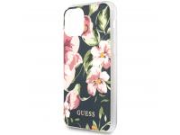 Husa Plastic - TPU Guess Flower Shiny N.3 pentru Apple iPhone 11 Pro Max, Bleumarin, Blister GUHCN65IMLFL03