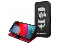 Husa Piele Karl Lagerfeld Heads Book pentru Apple iPhone 12 / Apple iPhone 12 Pro, Neagra, Blister KLFLBKSP12MFKICKC