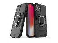 Husa Plastic - TPU OEM Ring Tough Armor Kickstand pentru Apple iPhone 12 mini, Neagra, Bulk