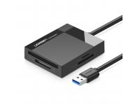 Cititor Card USB UGREEN 30231, USB 3.0 SD / micro SD / CF / MS, Negru, Blister