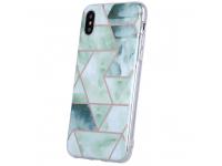 Husa TPU OEM Geometric Marmur pentru Samsung Galaxy A21s, Verde, Bulk