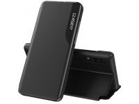 Husa Piele OEM Eco Leather View pentru Samsung Galaxy Note 20 N980, cu suport, Neagra, Bulk