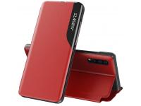 Husa Piele OEM Eco Leather View pentru Samsung Galaxy S20 Plus G985, cu suport, Rosie, Blister