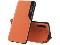 Husa Piele OEM Eco Leather View pentru Samsung Galaxy A21s, cu suport, Portocalie, Bulk