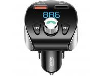 Modulator FM Bluetooth Joyroom R-CL02, cu buton Apel si 2 x USB, Negru