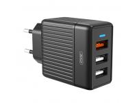Incarcator Retea USB XO Design L58, 3 x USB, 18W, Quick Charge, Negru