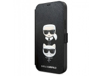 Husa Plastic - TPU Karl Lagerfeld Saffiano K&C Heads Book pentru Apple iPhone 12 mini, Neagra, Blister KLFLBKP12SSAKICKCBK