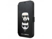 Husa Plastic - TPU Karl Lagerfeld Saffiano K&C Heads Book pentru Apple iPhone 12 Pro Max, Neagra, Blister KLFLBKP12LSAKICKCBK