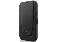 Husa Piele MERCEDES Perforated Leather Book pentru Apple iPhone 12 mini, Neagra, Blister MEFLBKP12SARMBK