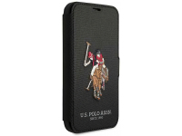 Husa TPU U.S. Polo Embroidery Book pentru Apple iPhone 12 mini, Neagra, Blister USFLBKP12SPUGFLBK