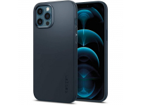 Husa Plastic Spigen THIN FIT pentru Apple iPhone 12 Pro Max, METAL SLATE, Bleumarin, Blister ACS02293