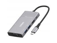 Hub USB Type-C Onten OT-95113, 8 in1, 2 X USB+ SD/TF + HDMI/VGA + 3.5mm, Gri, Blister