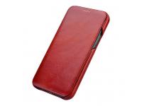 Husa Piele iCarer Vintage Leather pentru Apple iPhone 12 Pro Max, Rosie, Blister RIX1202R